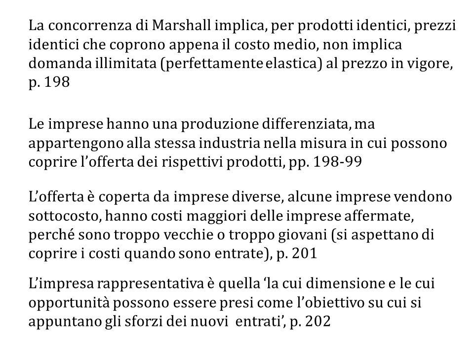La concorrenza di Marshall implica, per prodotti identici, prezzi identici che coprono appena il costo medio, non implica domanda illimitata (perfettamente elastica) al prezzo in vigore, p. 198