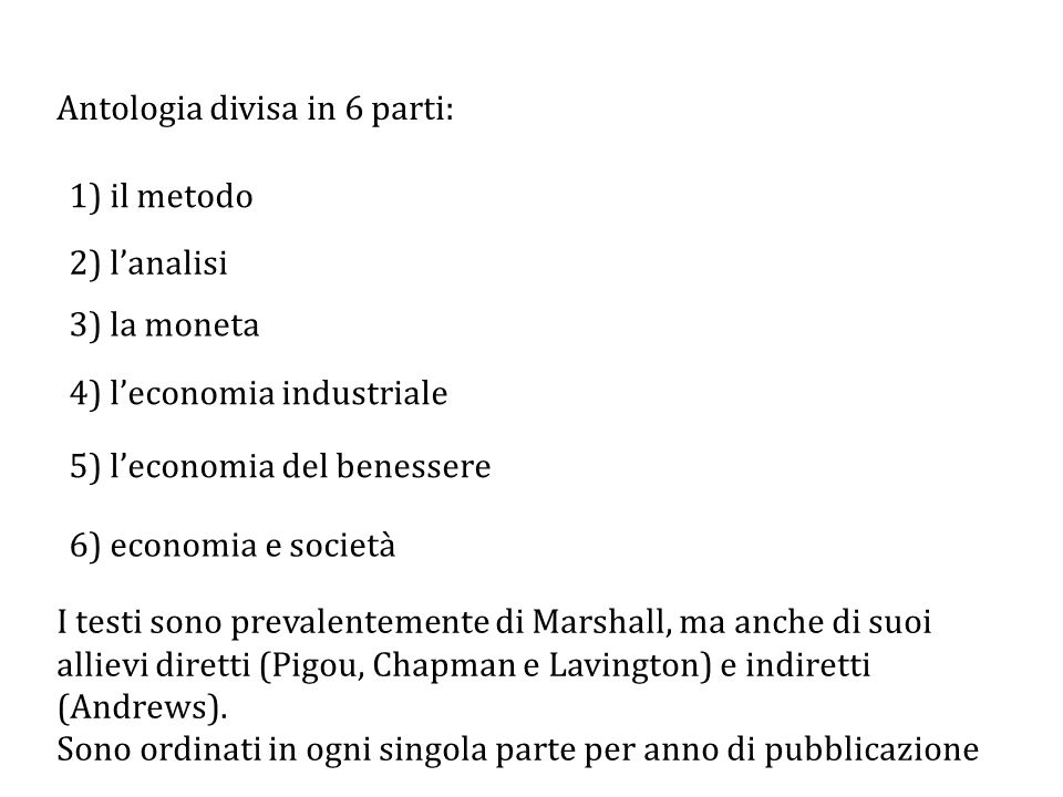 Antologia divisa in 6 parti: