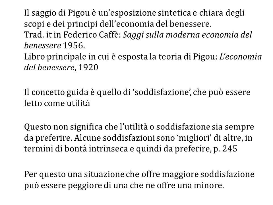 Il saggio di Pigou è un'esposizione sintetica e chiara degli scopi e dei principi dell'economia del benessere.