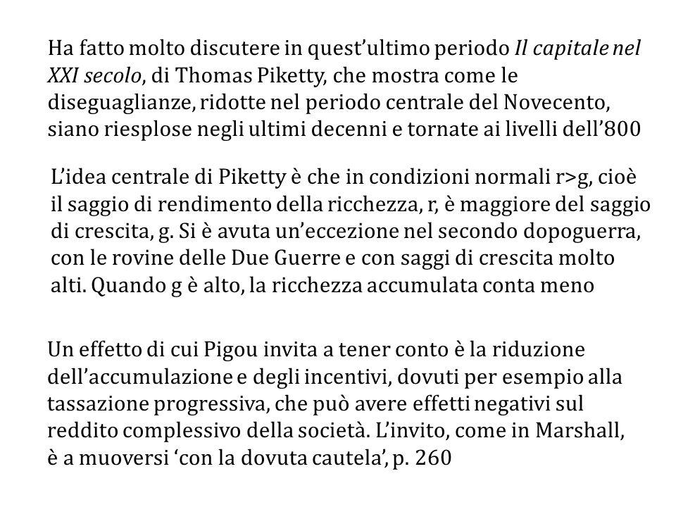 Ha fatto molto discutere in quest'ultimo periodo Il capitale nel XXI secolo, di Thomas Piketty, che mostra come le diseguaglianze, ridotte nel periodo centrale del Novecento, siano riesplose negli ultimi decenni e tornate ai livelli dell'800
