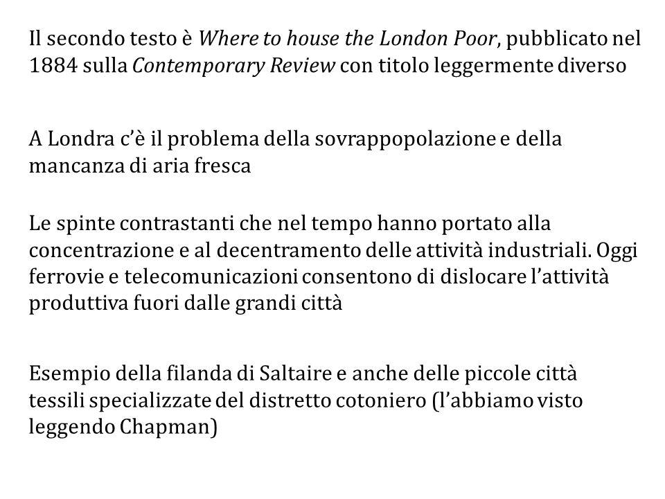 Il secondo testo è Where to house the London Poor, pubblicato nel 1884 sulla Contemporary Review con titolo leggermente diverso