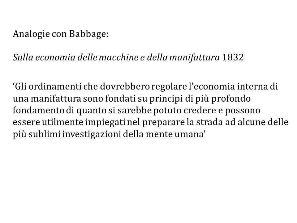 Analogie con Babbage: Sulla economia delle macchine e della manifattura 1832.