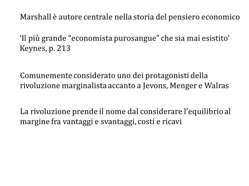 Marshall è autore centrale nella storia del pensiero economico