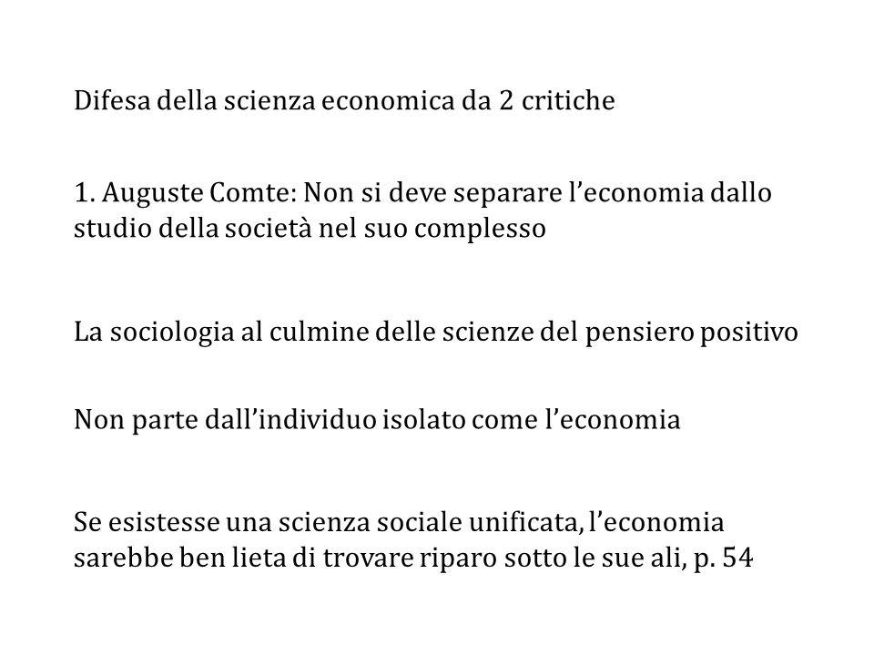 Difesa della scienza economica da 2 critiche