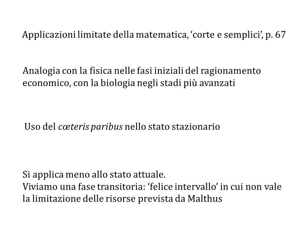 Applicazioni limitate della matematica, 'corte e semplici', p. 67