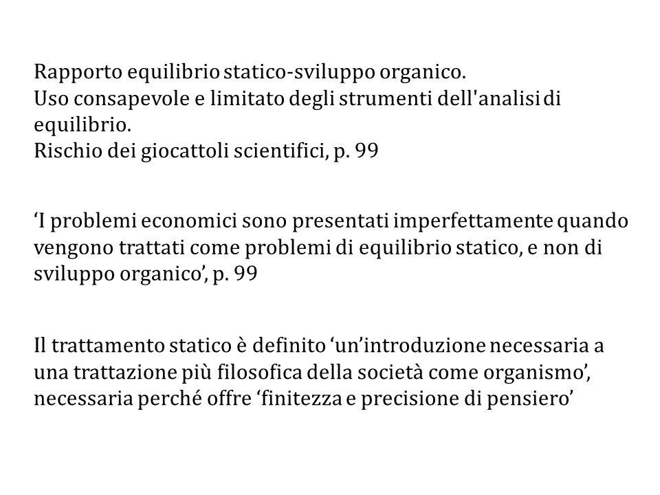 Rapporto equilibrio statico-sviluppo organico.