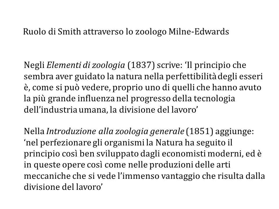 Ruolo di Smith attraverso lo zoologo Milne-Edwards