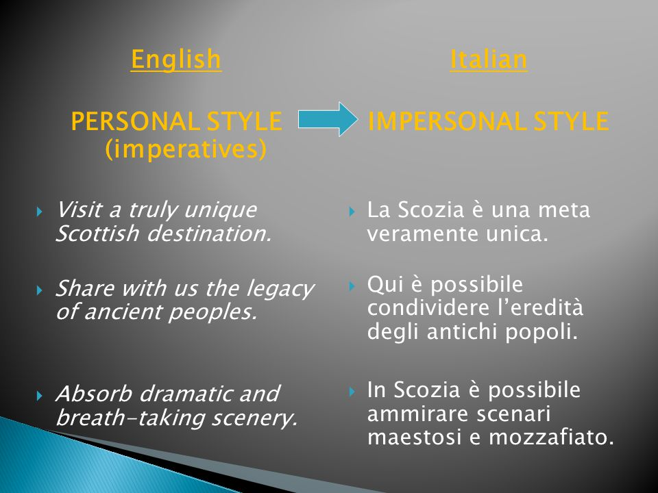 PERSONAL STYLE (imperatives)