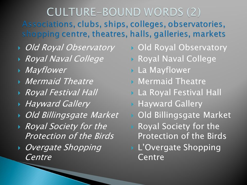 CULTURE-BOUND WORDS (2) Associations, clubs, ships, colleges, observatories, shopping centre, theatres, halls, galleries, markets