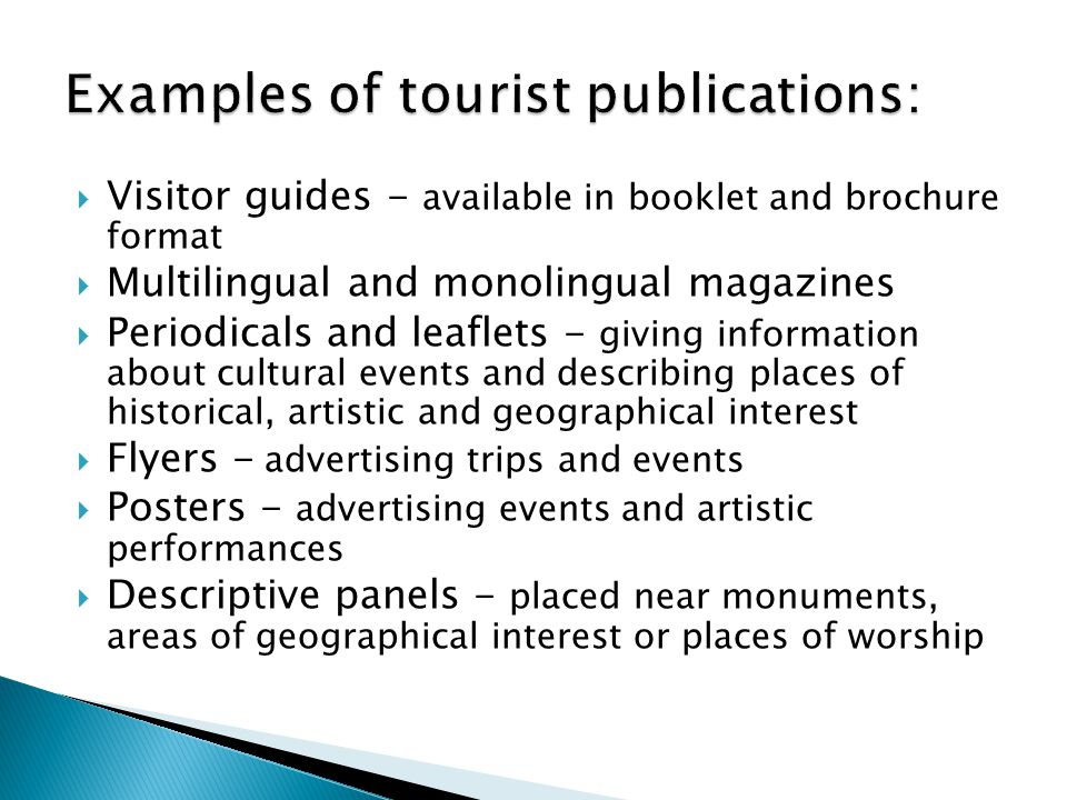 Examples of tourist publications: