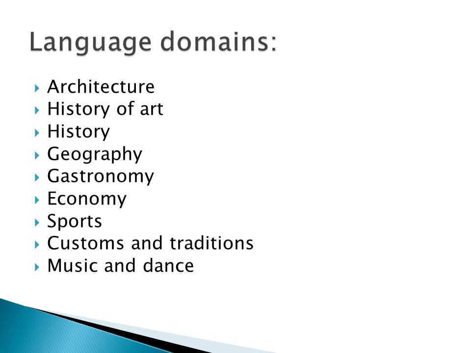 Language domains: Architecture History of art History Geography