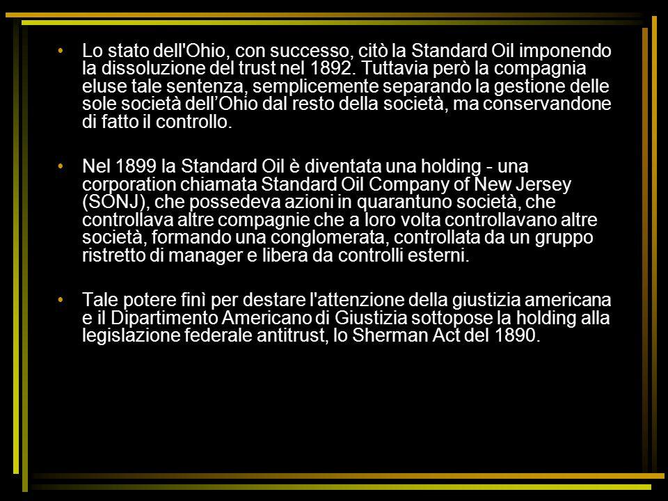 Lo stato dell Ohio, con successo, citò la Standard Oil imponendo la dissoluzione del trust nel 1892. Tuttavia però la compagnia eluse tale sentenza, semplicemente separando la gestione delle sole società dell'Ohio dal resto della società, ma conservandone di fatto il controllo.