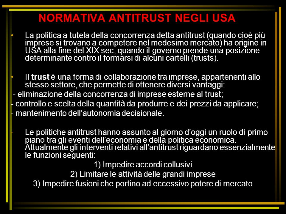 NORMATIVA ANTITRUST NEGLI USA