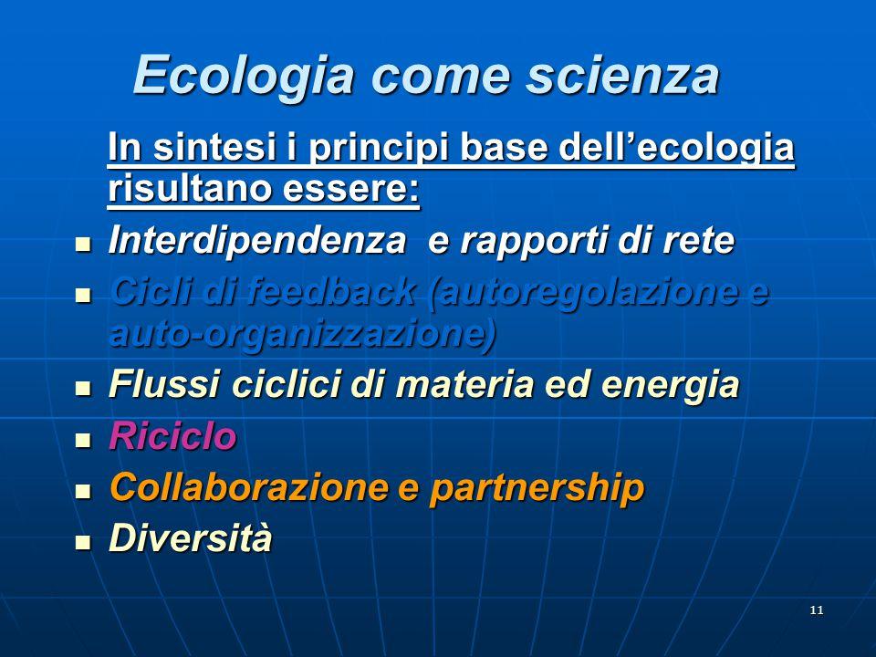 Ecologia come scienza In sintesi i principi base dell'ecologia risultano essere: Interdipendenza e rapporti di rete.