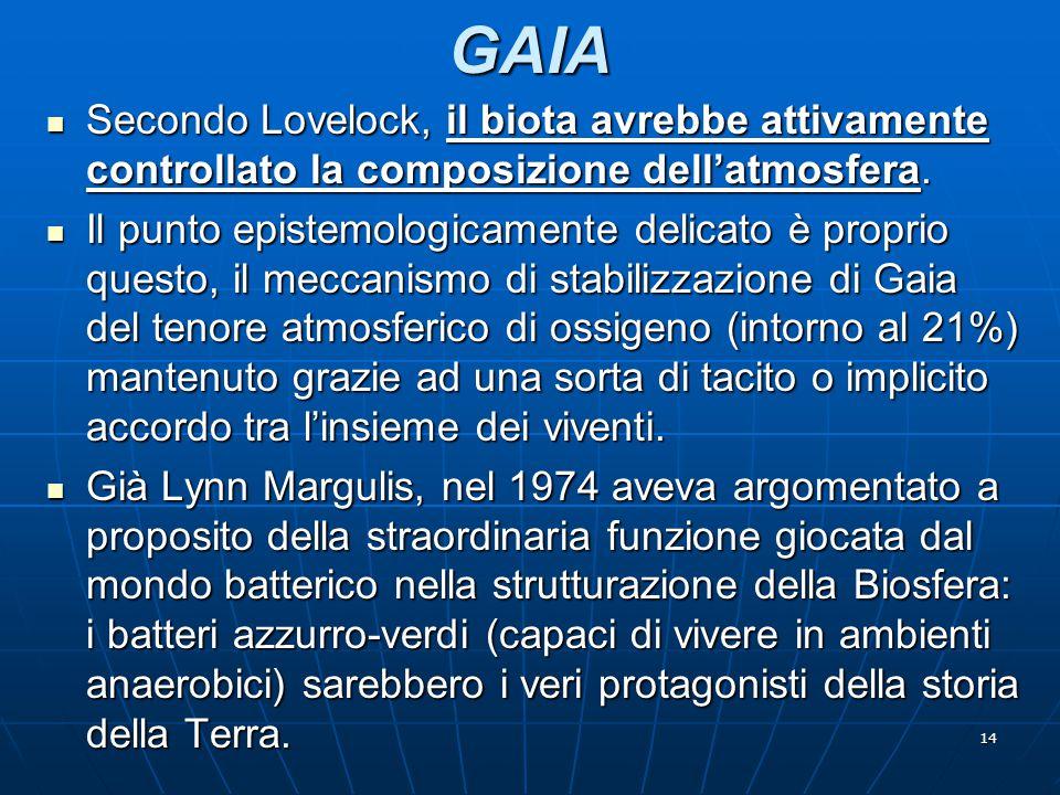GAIA Secondo Lovelock, il biota avrebbe attivamente controllato la composizione dell'atmosfera.