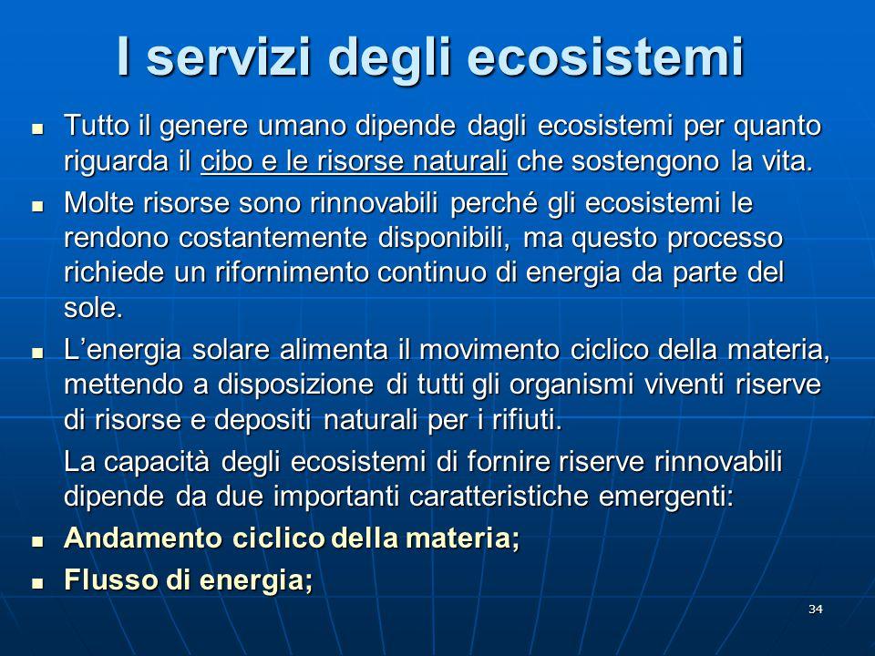 I servizi degli ecosistemi