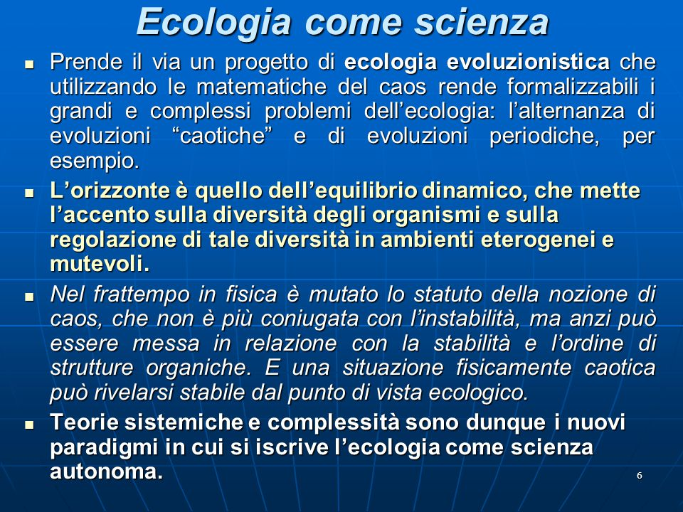 Ecologia come scienza