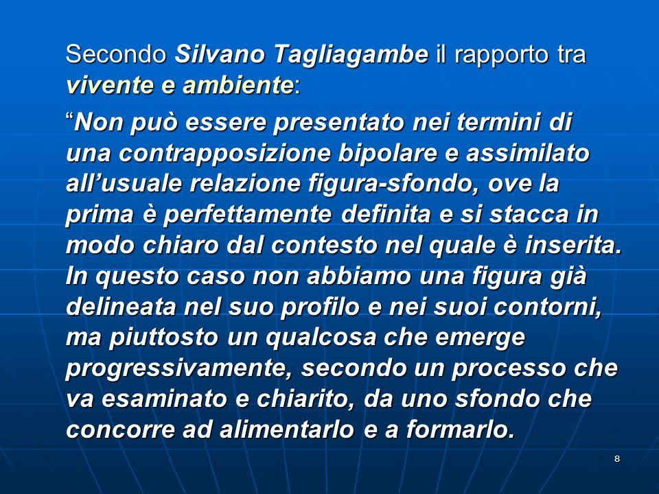 Secondo Silvano Tagliagambe il rapporto tra vivente e ambiente: