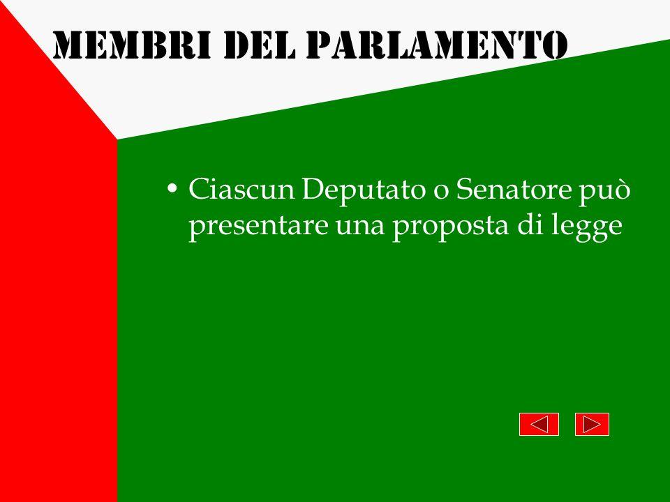 Membri del Parlamento Ciascun Deputato o Senatore può presentare una proposta di legge