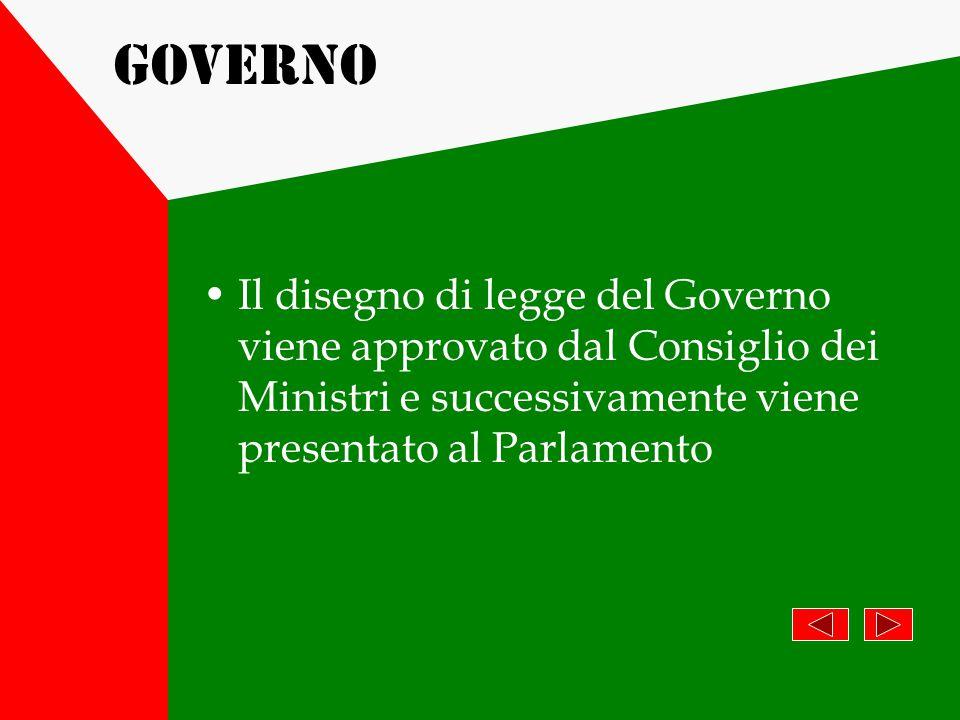 Governo Il disegno di legge del Governo viene approvato dal Consiglio dei Ministri e successivamente viene presentato al Parlamento.