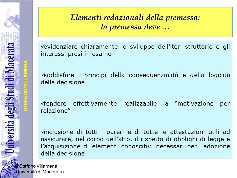Elementi redazionali della premessa: la premessa deve …