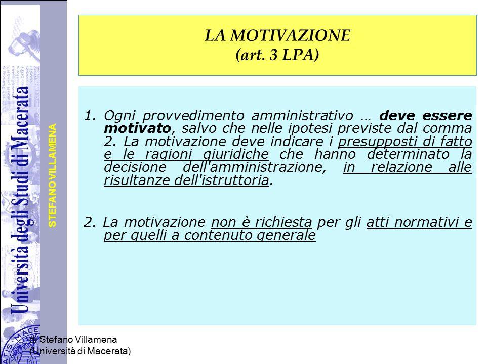 LA MOTIVAZIONE (art. 3 LPA)