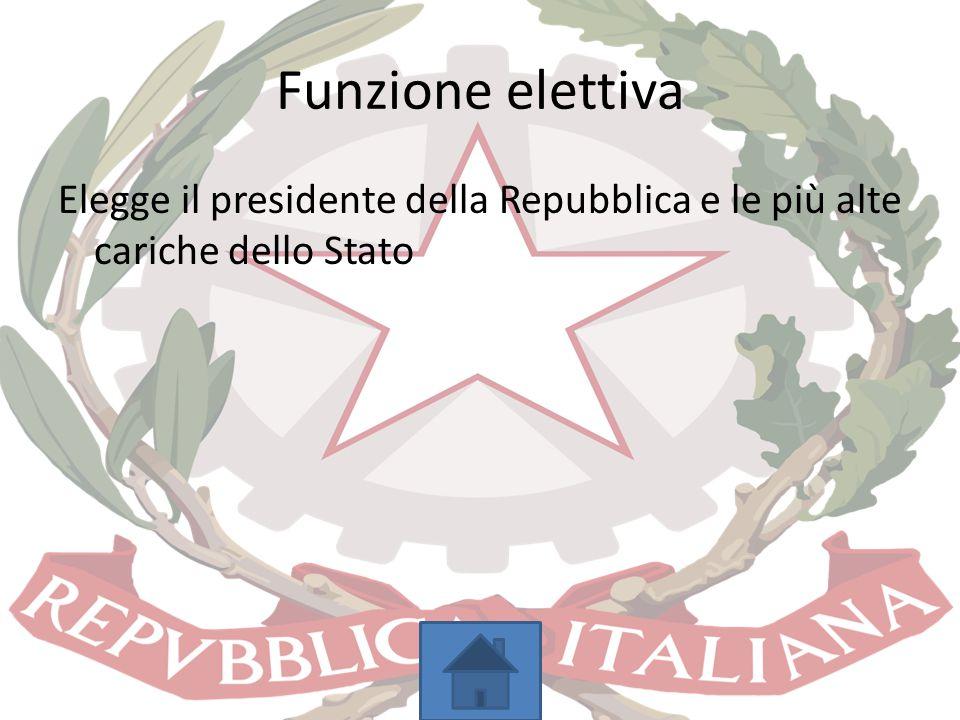 Funzione elettiva Elegge il presidente della Repubblica e le più alte cariche dello Stato