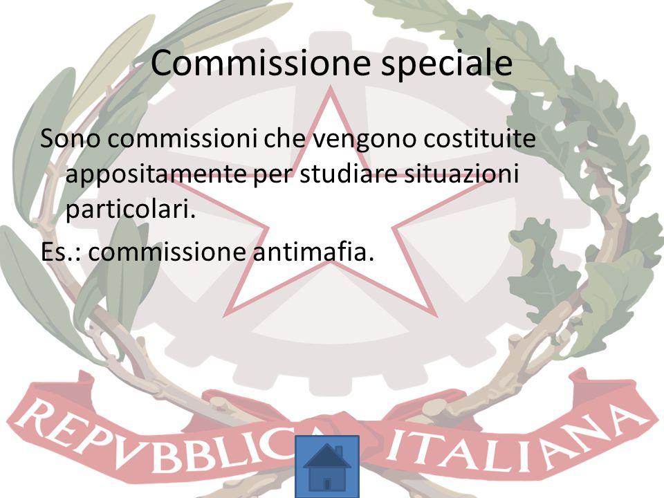 Commissione speciale Sono commissioni che vengono costituite appositamente per studiare situazioni particolari.
