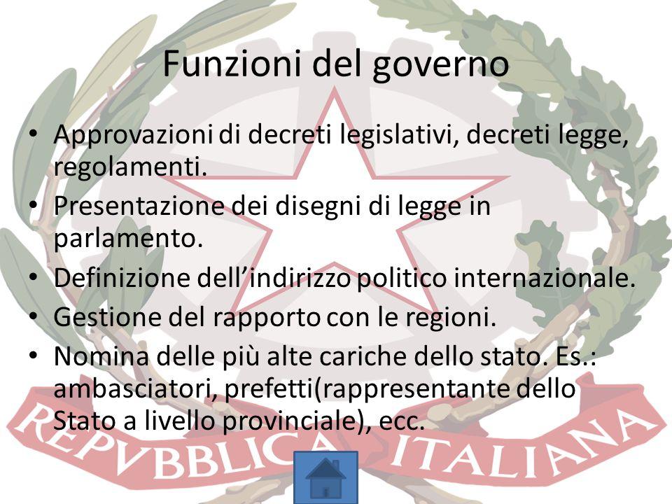 Funzioni del governo Approvazioni di decreti legislativi, decreti legge, regolamenti. Presentazione dei disegni di legge in parlamento.