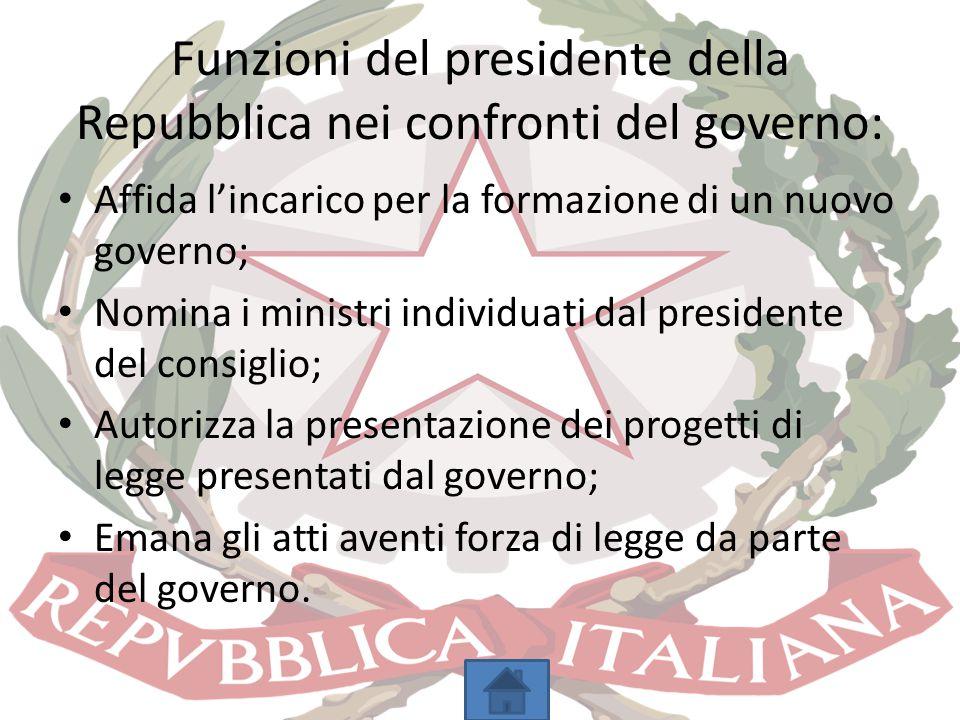 Funzioni del presidente della Repubblica nei confronti del governo:
