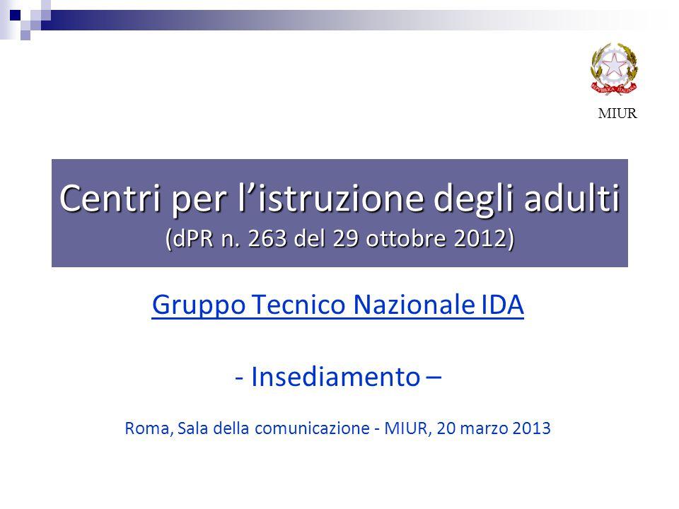 Centri per l'istruzione degli adulti (dPR n. 263 del 29 ottobre 2012)