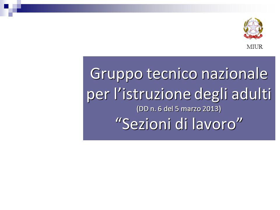 MIUR Gruppo tecnico nazionale per l'istruzione degli adulti (DD n. 6 del 5 marzo 2013) Sezioni di lavoro
