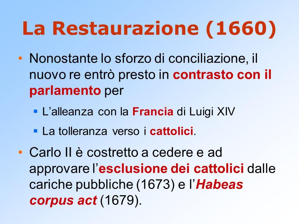La Restaurazione (1660) Nonostante lo sforzo di conciliazione, il nuovo re entrò presto in contrasto con il parlamento per.