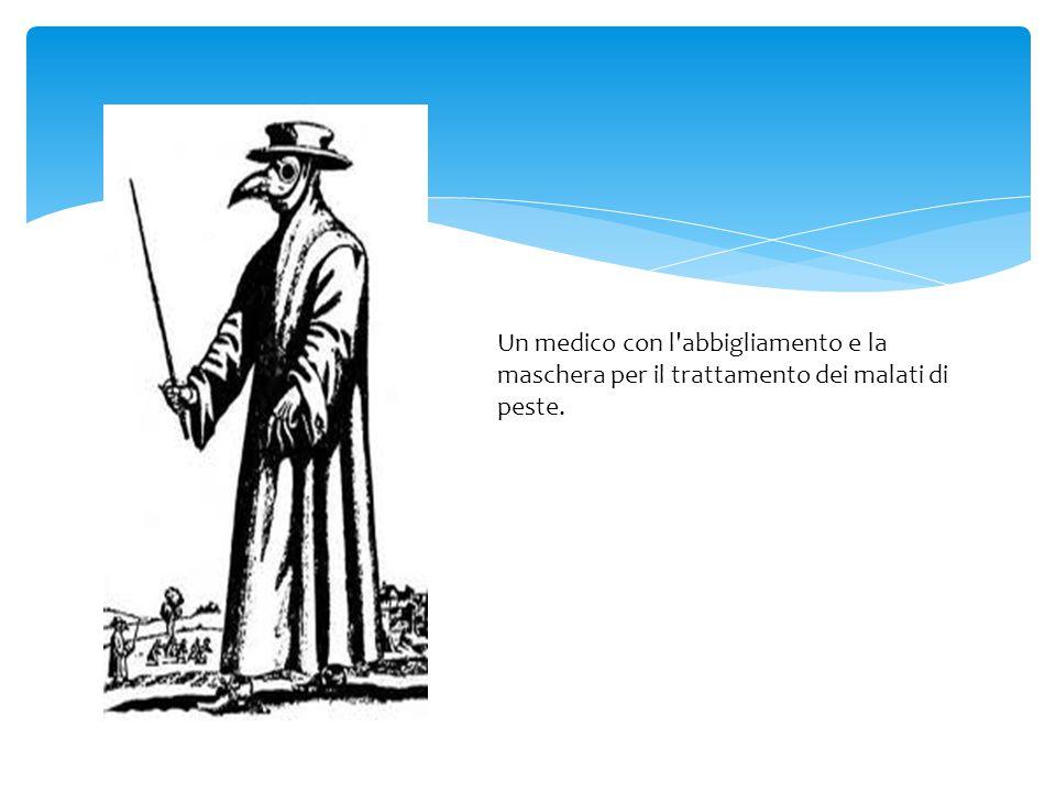 Un medico con l abbigliamento e la maschera per il trattamento dei malati di peste.