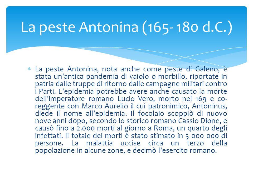 La peste Antonina (165- 180 d.C.)