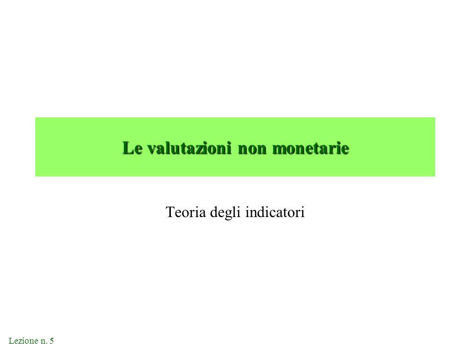 Le valutazioni non monetarie