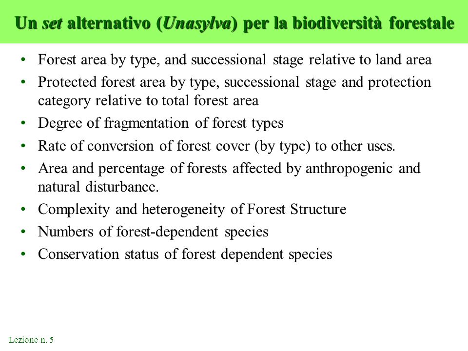 Un set alternativo (Unasylva) per la biodiversità forestale