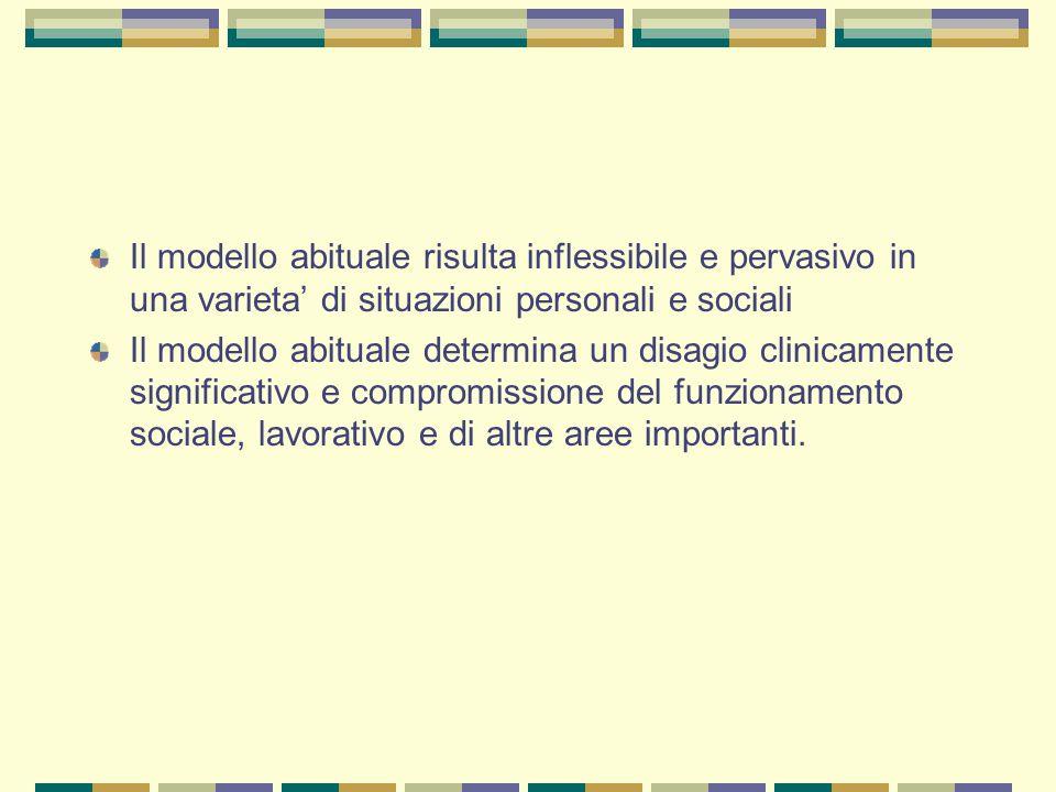 Il modello abituale risulta inflessibile e pervasivo in una varieta' di situazioni personali e sociali