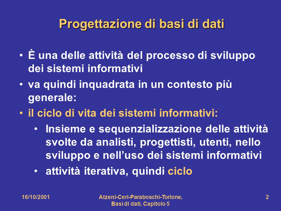 Progettazione di basi di dati