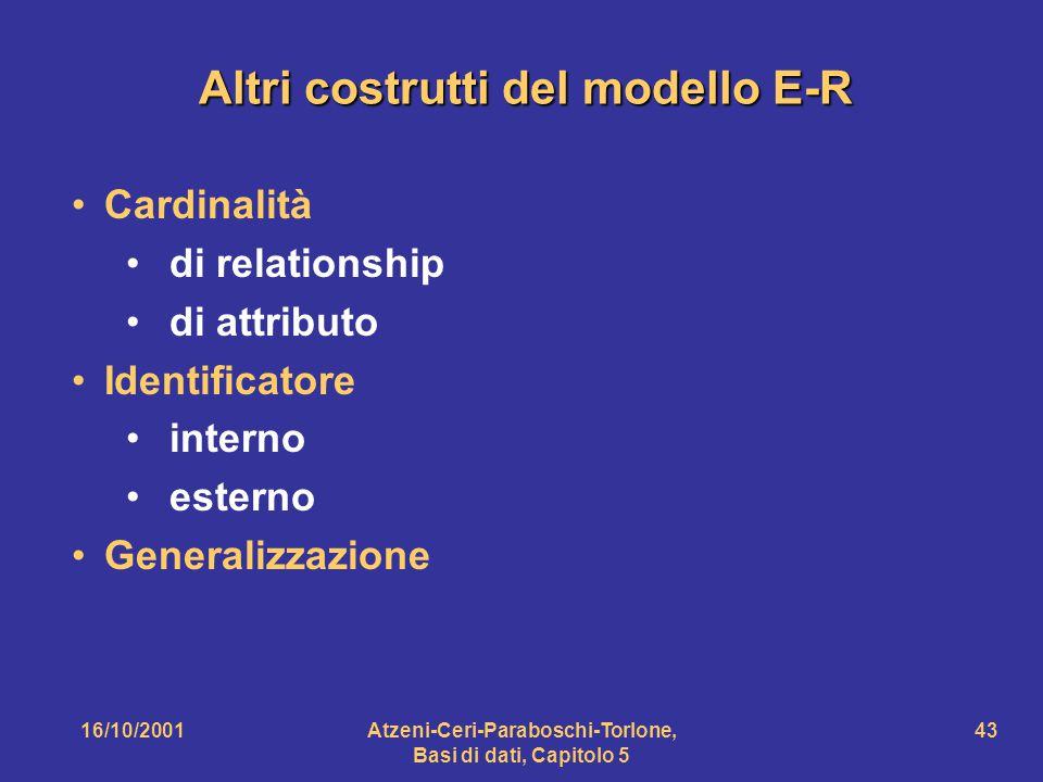 Altri costrutti del modello E-R