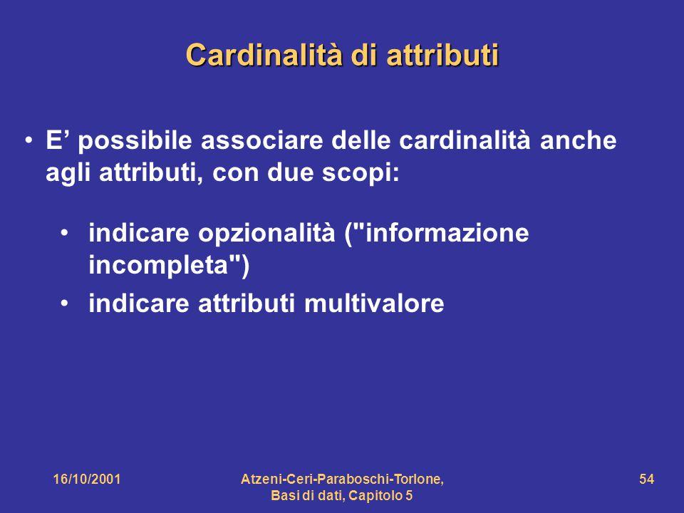 Cardinalità di attributi