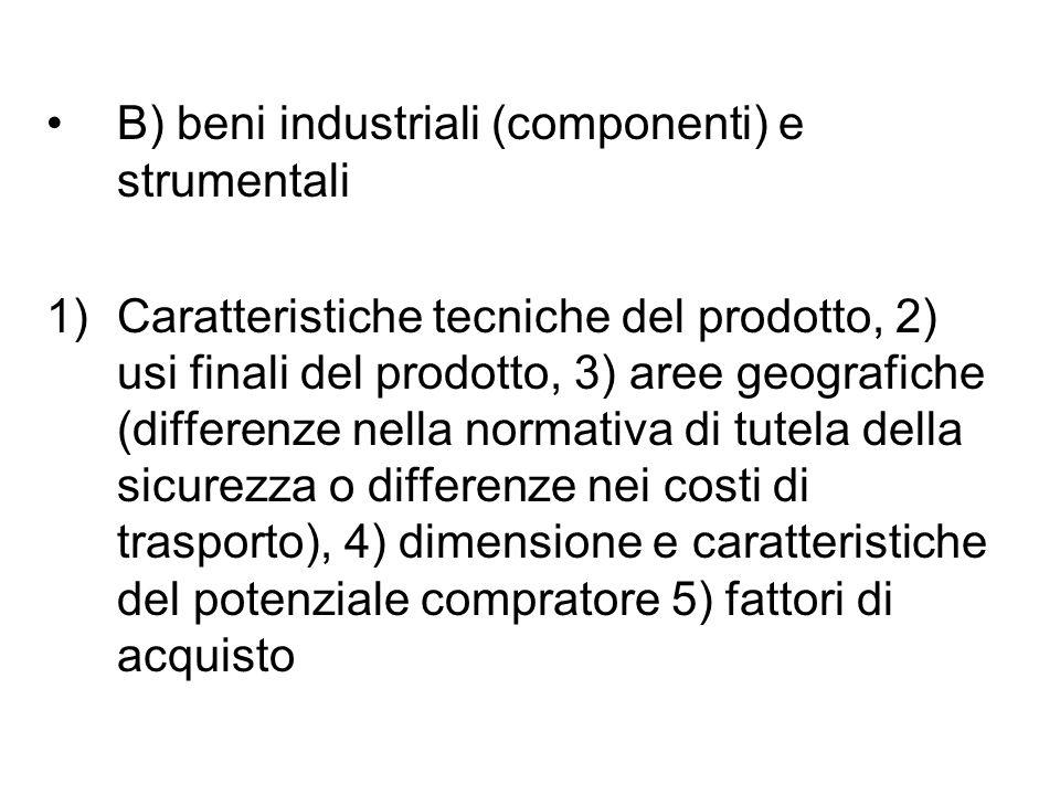 B) beni industriali (componenti) e strumentali