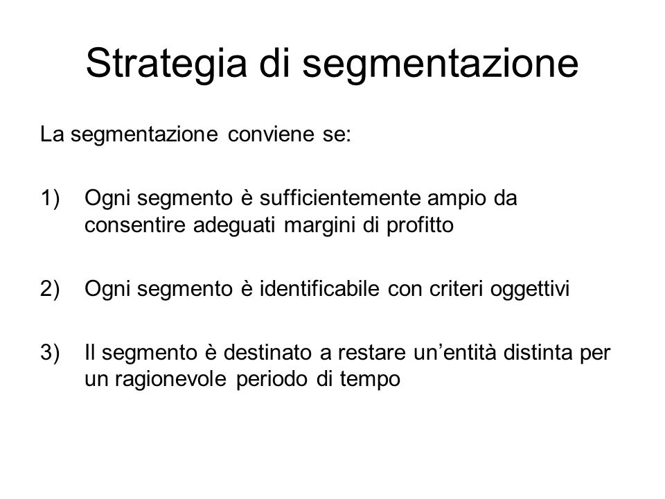 Strategia di segmentazione