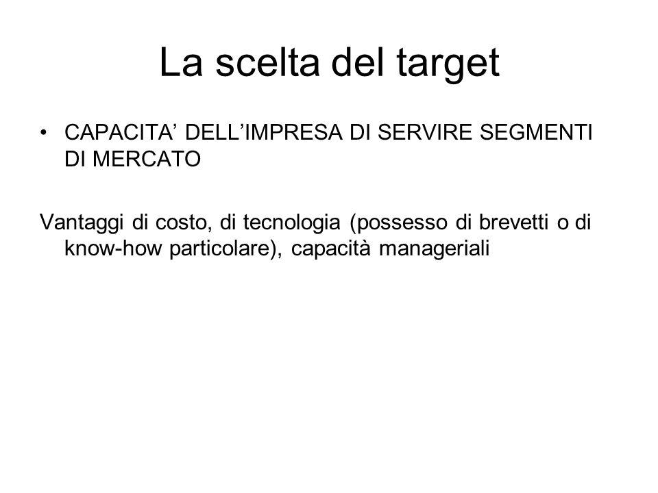 La scelta del target CAPACITA' DELL'IMPRESA DI SERVIRE SEGMENTI DI MERCATO.