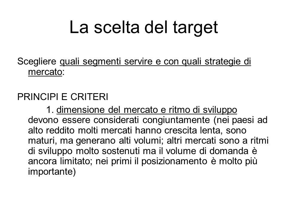 La scelta del target Scegliere quali segmenti servire e con quali strategie di mercato: PRINCIPI E CRITERI.