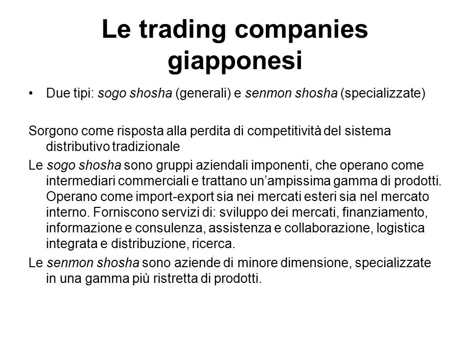Le trading companies giapponesi