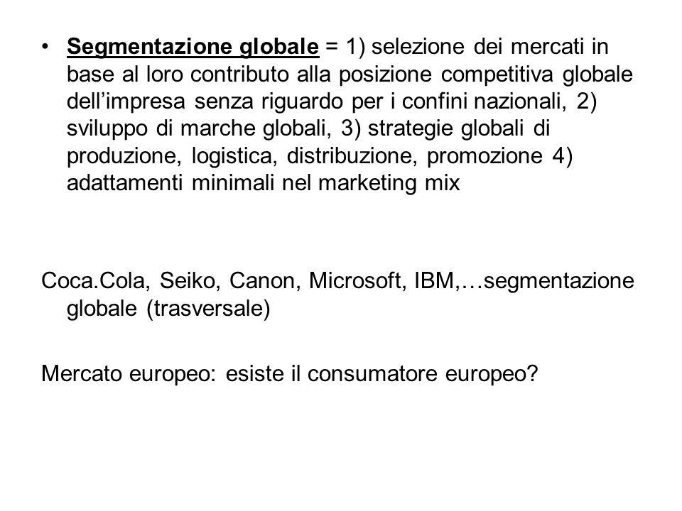 Segmentazione globale = 1) selezione dei mercati in base al loro contributo alla posizione competitiva globale dell'impresa senza riguardo per i confini nazionali, 2) sviluppo di marche globali, 3) strategie globali di produzione, logistica, distribuzione, promozione 4) adattamenti minimali nel marketing mix