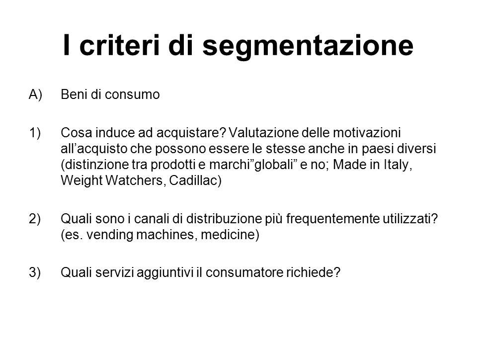 I criteri di segmentazione