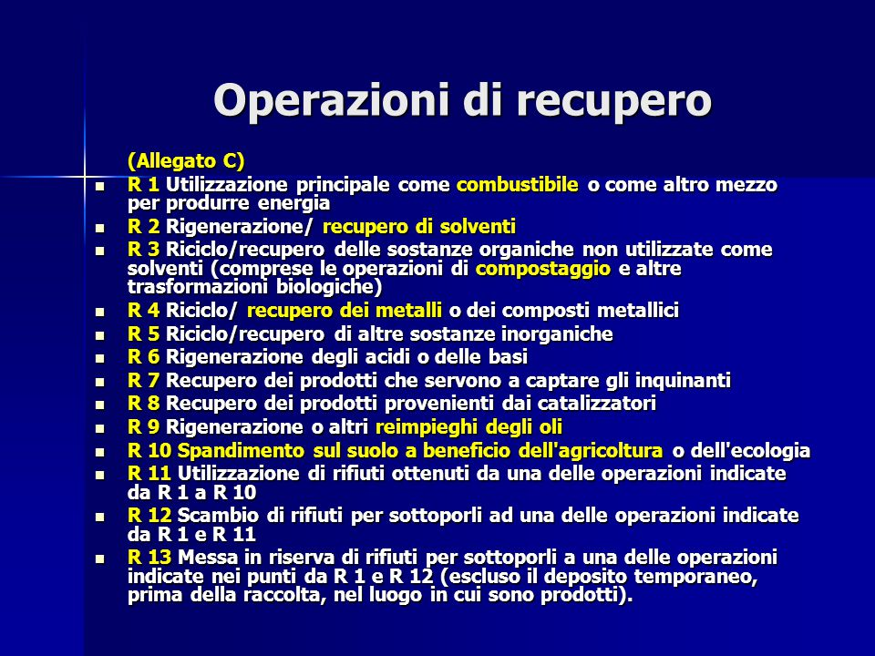 Operazioni di recupero