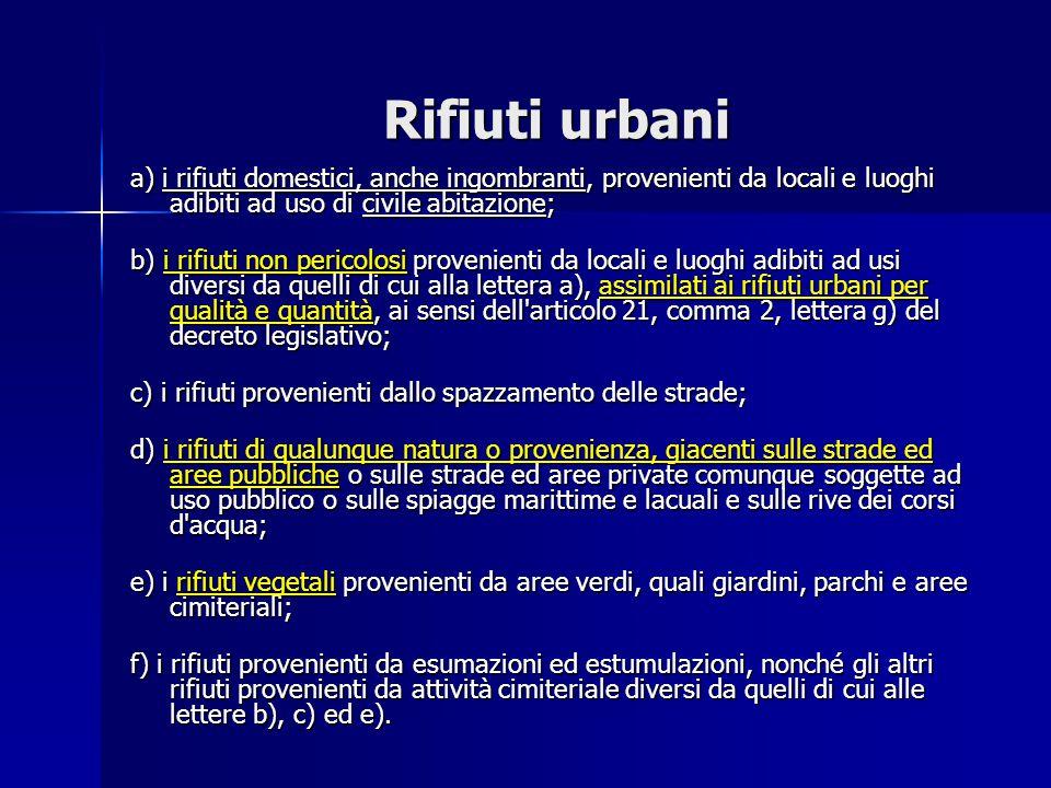 Rifiuti urbani a) i rifiuti domestici, anche ingombranti, provenienti da locali e luoghi adibiti ad uso di civile abitazione;